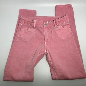 Girls H&M Pink Skinny Fit Jeans Heart Shaped Front